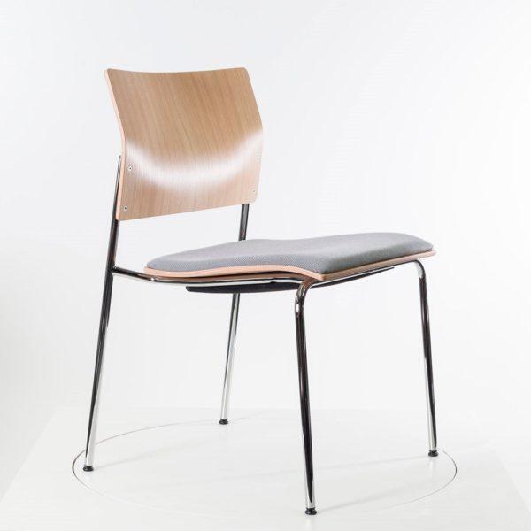 THONET Stahlrohrstuhl S 361 SPST- sofort lieferbar ✓ Sitzschale aus Eiche farblackiert ✓ Sitzpolster weiß-schwarz-dunkelgrau ✓ stapel- und reihbar