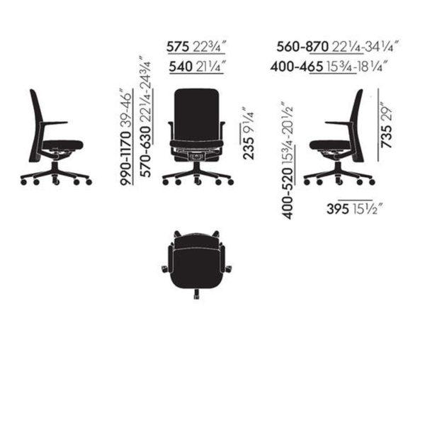 Vitra Bürostuhl Pacific Chair│Rückenlehne mittelhoch│Vitra bei feco in Karlsruhe