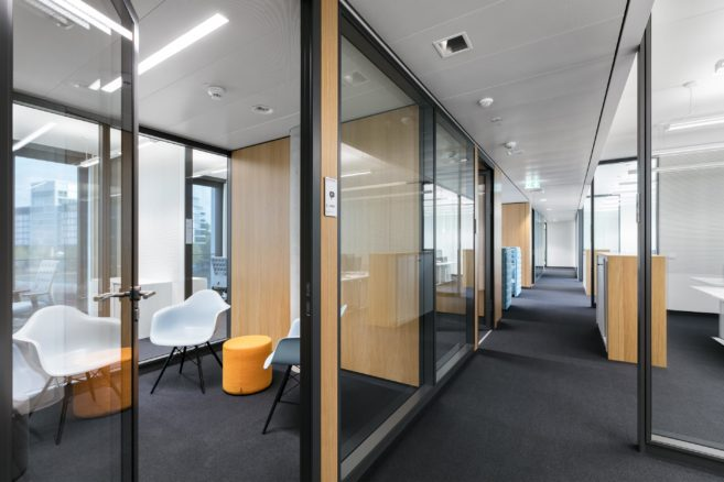 Flexible offices with feco partition wall systems   KVBW Karlsruhe