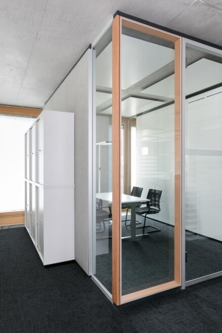 feco glass partition walls with real wood | W&W Campus, Kornwestheim