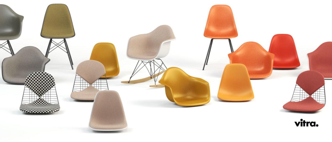 Eames Chairs Varianten bei feco Karlsruhe│26 Sitzschalenfarben, 36 Polsterfarben, 20 Untergestelle: mehr als 100 000 Konfigurationen.