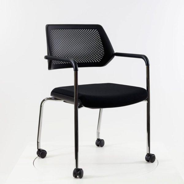 Steelcase QiVi - 4-Fuß Stuhl auf Rollen│Bezug Atlantik schwarz│Steelcase bei feco Karlsruhe