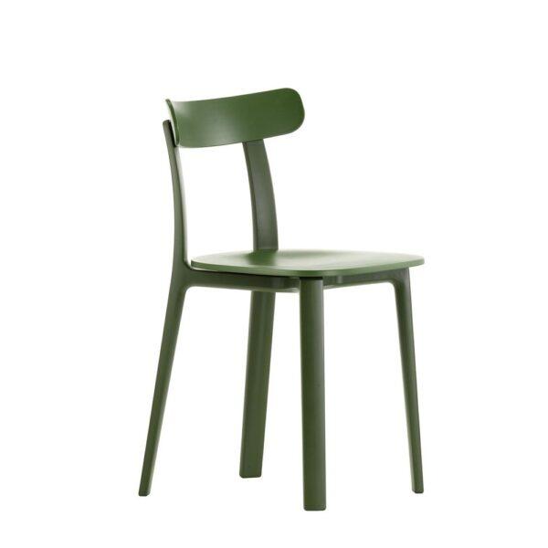 Vitra All Plastic Chair efeu grün│ robuster Kunststoffstuhl │ perfekt für Drinnen und Draußen
