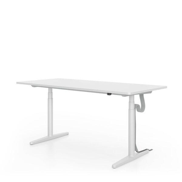 Vitra Schreibtisch, stufenlos elektrisch höhenverstellbar │ Melamin, soft light │1400 x 700 mm │ Kabelschlauch