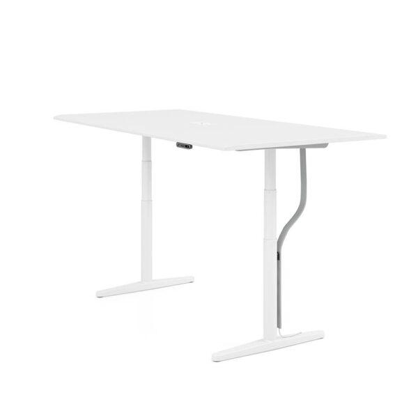 Vitra Schreibtisch, stufenlos elektrisch höhenverstellbar │ Melamin, soft light │1400 x 700 mm │ obere Position