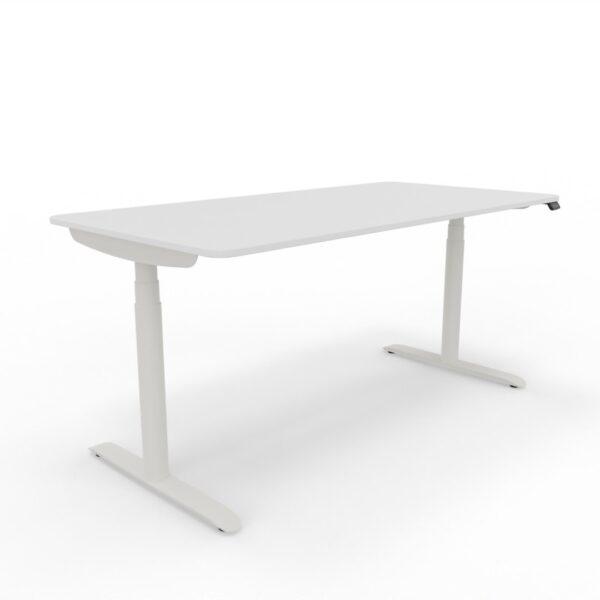 Schreibtisch mit abgerundeten Plattenecken, elektrisch höhenverstellbar, inkl. Kabelwanne und Netzkabel